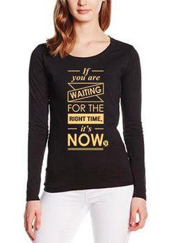 SweetFit-  Now Ladies Black Long Sleeve Tee