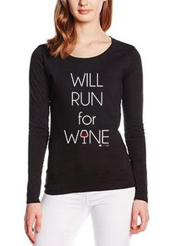 SweetFit-  Will Run for Wine Ladies Black Long Sleeve Tee