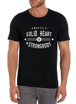 SweetFit-  Solid Heart Men's Black Tee