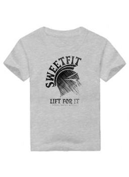 SweetFit-  Lift For It Kids Grey Tee