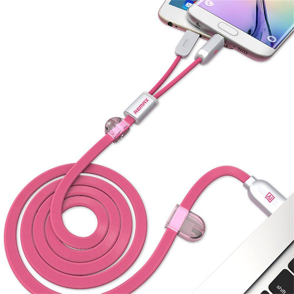 Remax Same Time 2in1 Micro Usb Lightning Iphone Cable Spec Dan 2 In 1 Binary Magnetic At The Pink Merah Muda Original 1m Andriod