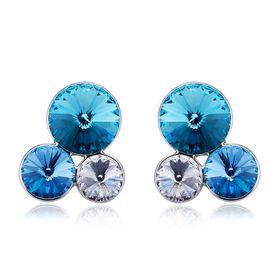 Romantico 3 Stud Earrings Made With Swarovski Crystals - DJ-20764-BLU