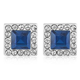 Princess Square Earrings Made With Swarovski Crystals - DJ-20151-BB