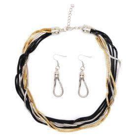 Multi Strand Box Chain In Silver, Gold & Black Plating - TLSET090