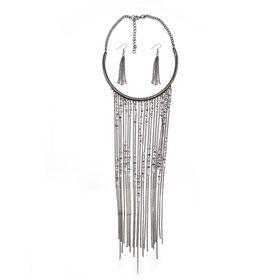 Gunmetal Plated Choker Style Necklace - TLSET096
