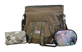 Fino canvas Bag & Patent Leather Purse plus free pouch (SK-CA8871-EY+HY114-093+SKH212)