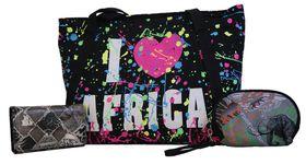 Africa trio Canvas Shoulder Bag & Patent  Leather Purse plus free pouch (SKH-138+HY114-093+SKH212)