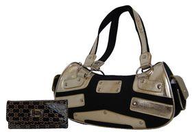 Canvas & Metallic 2 Tone Shoulder Bag & Pu Patent Leather Purse Set (A2436/EY+S077-765)