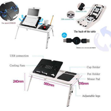 E Table Portable Laptop Stand With 2 Usb Cooling Fans