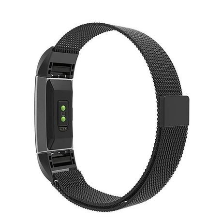 Milanese Loop Band for Fitbit Charge 2 - Black (Size: S/M)