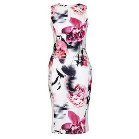 Quiz - Cream And Pink Flower Print Keyhole Bodycon Dress