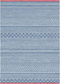 Rugs Original Beau - Blue & White Aztec Inspired Design With Red Edging