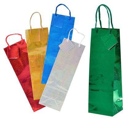bulk pack 12 x hologram wine gift bag 35cm x 10cm assorted buy