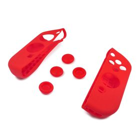 Nintendo Switch All In One Soft Feel Silicone Case & Joystick Grips - Red