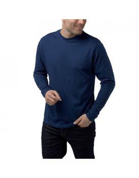 Charles Wilson Mens Premium Long Sleeve Crew Neck T-Shirt - Navy