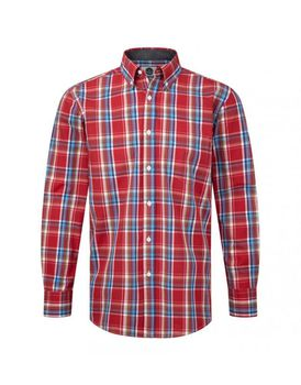 Charles Wilson Mens Classic Check Casual Shirt - Red & Sky