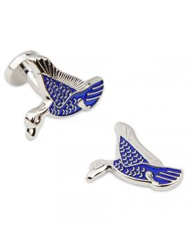 Charles Wilson Mens Duck Enamel Cufflinks - Blue