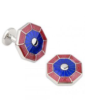 Charles Wilson Mens Octagon Enamel Cufflinks - Blue & Red