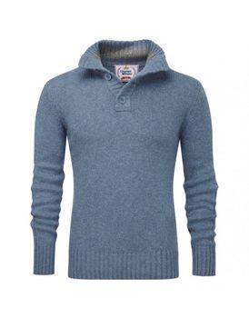 Charles Wilson Mens Button Neck Premium Blend Jumper - Merlin Blue