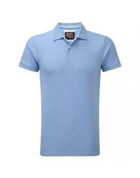Charles Wilson Mens Plain Pique Polo Shirt - Sky Blue