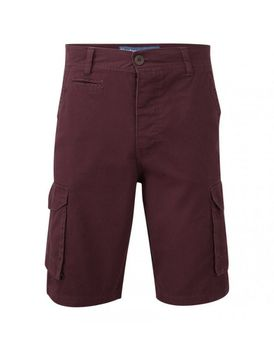 Charles Wilson Mens Plain Cargo Shorts - Burgundy