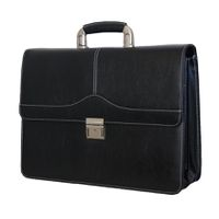 Fino Large PU (Poly) Synthetic Leather  Leather Laptop Briefcase - Black (C12-598)