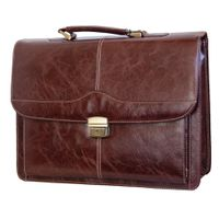 Fino Large Leather Laptop Briefcase - Brown (9201B-65L)