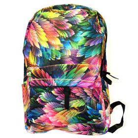 Multi Coloured Feather Print Fashion Backpack