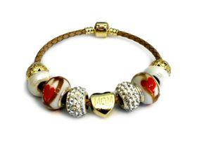 Urban Charm Gemmabella European Charm bracelet on Leather - MOM