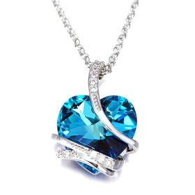 CDE Blue Elsa Heart Necklace with Swarovski Crystals - Silver