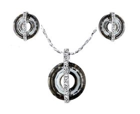 CDE Gothic Halo Necklace & Earring Set with Swarovski Crystals - Silver