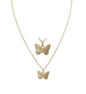 Art Jewellers 9Ct/925 Gold Fusion Butterfly Pendant With Chain - 810085