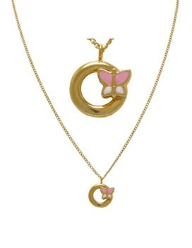 Art Jewellers 9Ct/925 Gold Fusion Butterfly Circle Of Life Pendant With Chain - GSF-MK1003-02Y