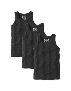 Charles Wilson Mens 3 Pack Ribbed Vest - Black