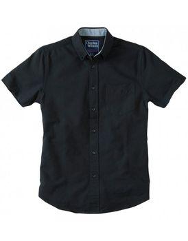 Charles Wilson Mens Short Sleeve Oxford Shirt - Black