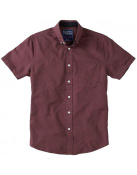 Charles Wilson Mens Short Sleeve Oxford Shirt - Burgundy