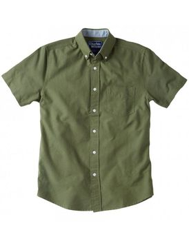 Charles Wilson Mens Short Sleeve Oxford Shirt - Green