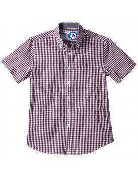 Charles Wilson Mens Short Sleeve Check Shirt - Deep Red