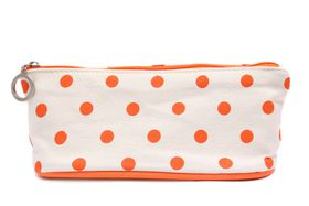 Orange Polka Dot Pencil/Cosmetic Bag