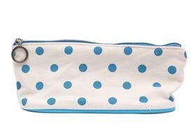 Light Blue Polka Dot Pencil/Cosmetic Bag