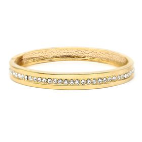 Gold Plated Crystal Centered Cuff Bracelet