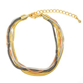 Multi Strand, Gold, Rose Gold, Silver And Grey Plated  Snake Chain Bracelet