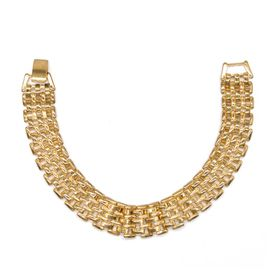 Gold Plated Gate Link Design Bracelet with Clip Clasp