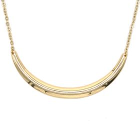 Gold Plated Solid Curved Bar & Oval Link Necklace