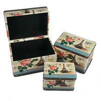 Paris Wooden Storage Box Set Of 3