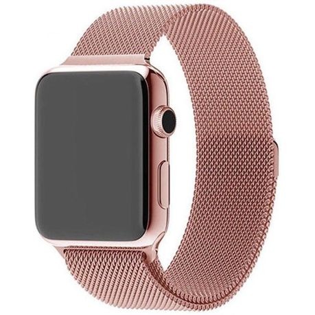 6dfe13a7239 42mm Apple Watch Strap by Zonabel - Milanese Loop - Rose Gold