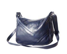 Women's Genuine Leather Oblique Zip Shoulderbag - Blue