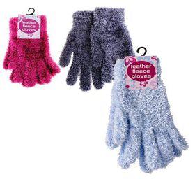 Bulk Pack 6 x Ladies Acrylic Knit Plush Gloves