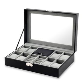 8 Slots PU Leather Jewelry Storage Display Case With Lock & Glass Top - Black