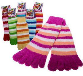 Bulk Pack 5 X Ladies Plush Socks Toe-Design - Assorted